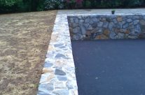 Driveway and Stone Retaining Wall